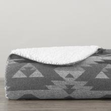 Aztec Design Throw With Shearling (black, Blue, Gray), 50x60 - Gray