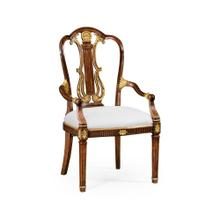 Neo-classical gilded lyre back dining armchair