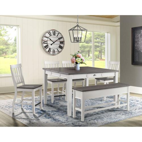 Kayla Counter Dining Set - Counter Table and 6 Barstools