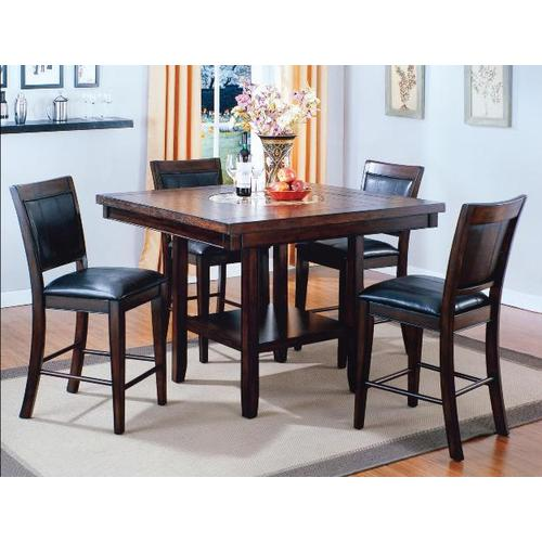 Crown Mark - Crownmark 2727T-4848V Fulton Count Lazy Susan 5-Piece Dinette - Table And 4 Chairs