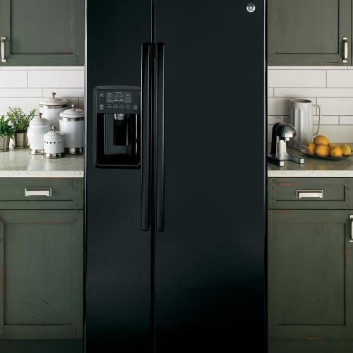 GE 23.2 Cu. Ft. Side-By-Side Refrigerator Black - GSS23GGKBB