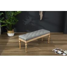 Habit Solid Wood Gray Button Tufted Dining Bench