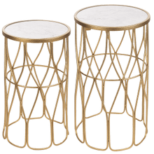 Hammered Gold Faux Marble Top Side Table (2 pc. set)