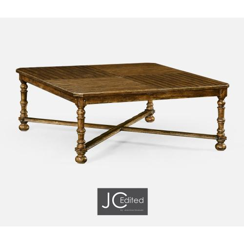 Country Walnut Large Square Parquet Coffee Table