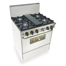 "30"" Dual Fuel, Convect, Self Clean, Open Burners, White with Brass"