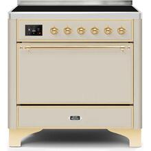 Majestic II 36 Inch Electric Freestanding Range in Antique White with Brass Trim