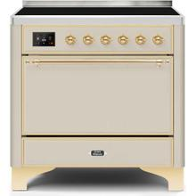 View Product - Majestic II 36 Inch Electric Freestanding Range in Antique White with Brass Trim