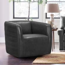 See Details - Melanie Swivel Pewter Genuine Leather Barrel Chair