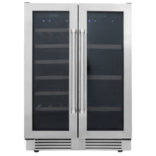 See Details - 24 Inch French Door Wine and Beverage Center, 21 Wine Bottle Capacity and 95 Can Capacity