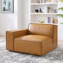 Restore Right-Arm Vegan Leather Sectional Sofa Chair in Tan