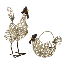 See Details - Gentry Wire Chickens and Basket - Set of 2