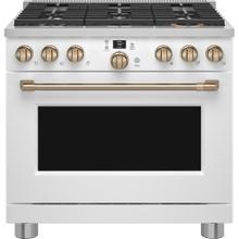 """View Product - Café 36"""" Smart Dual-Fuel Commercial-Style Range Matte White"""