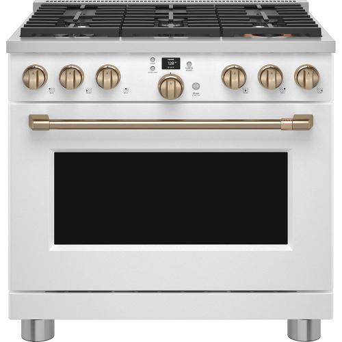 """Cafe Canada - Café 36"""" Smart Dual-Fuel Commercial-Style Range Matte White"""