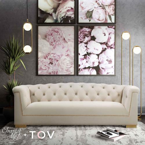 Tov Furniture - Farah Cream Velvet Sofa by Inspire Me! Home Decor