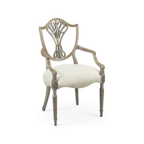 Sheraton Buckingham Grey & Gilded Dining Armchair with Shield Back, Upholstered in Shambala