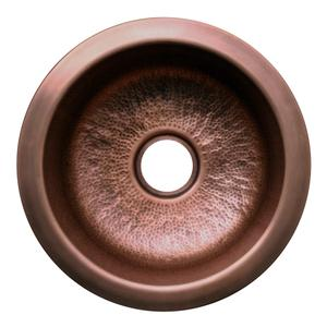 """Copperhaus large, round single bowl undermount or drop-in prep sink with a smooth or hammered texture and a 3 1/2"""" center drain - 14 gauge copper sink. Product Image"""