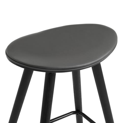"""Armen Living - Piper 26"""" Counter Height Backless Bar Stool in Grey Faux Leather and Black Wood"""