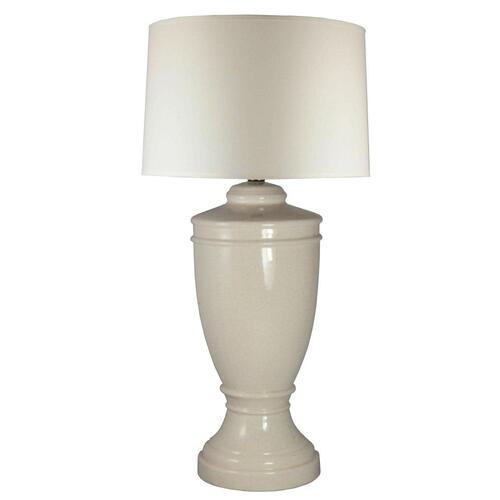 (8613) 30 inch Eggshell Crackle Ceramic Table Lamp.