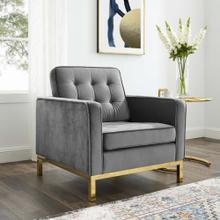 Loft Gold Stainless Steel Performance Velvet Armchair in Gold Gray