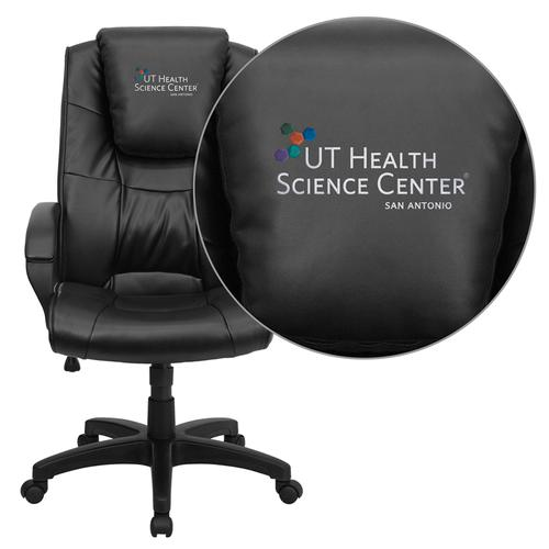 Texas Health Science Center San Antonio Embroidered Black Leather Executive Office Chair
