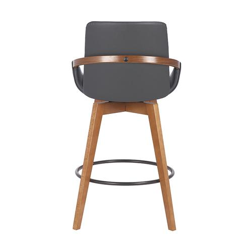 """Armen Living - Baylor 26"""" Counter Height Swivel Barstool with Walnut Finish and Gray Faux Leather"""