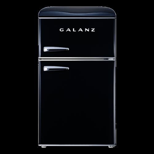 Galanz 3.1 Cu Ft Retro Dual Door Refrigerator in Vinyl Black