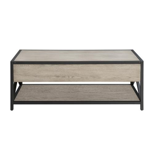 Accentrics Home - Gray Ash Metal Framed Two Drawer Cocktail Table
