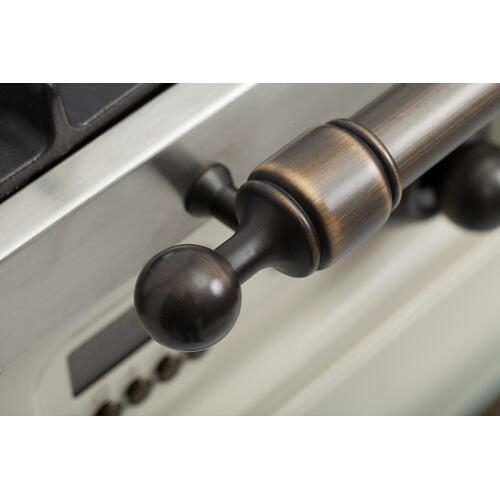 Nostalgie 36 Inch Dual Fuel Liquid Propane Freestanding Range in Stainless Steel with Bronze Trim