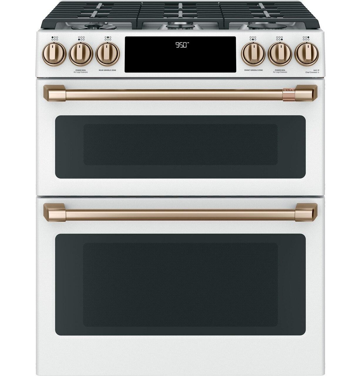 """Cafe AppliancesCafe™ 30"""" Smart Slide-In, Front-Control, Dual-Fuel, Double-Oven Range With Convection"""
