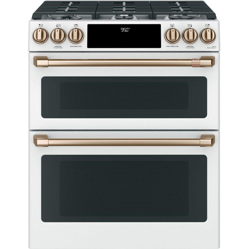 """Cafe™ 30"""" Smart Slide-In, Front-Control, Dual-Fuel, Double-Oven Range with Convection"""