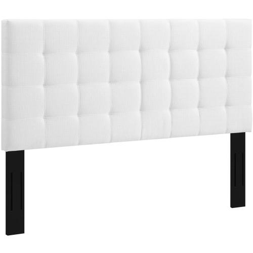 Paisley Tufted Full / Queen Upholstered Linen Fabric Headboard in White