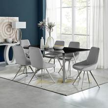 Product Image - Cressida and Skye Gray Velvet 7 Piece Rectangular Dining Set