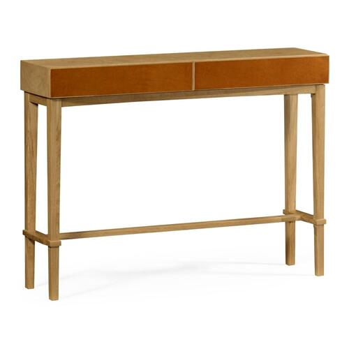 Architectural console table with drawers in leather