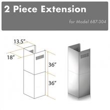 """See Details - ZLINE 2-36"""" Chimney Extensions for 10 ft. to 12 ft. Ceilings (2PCEXT-687-304)"""
