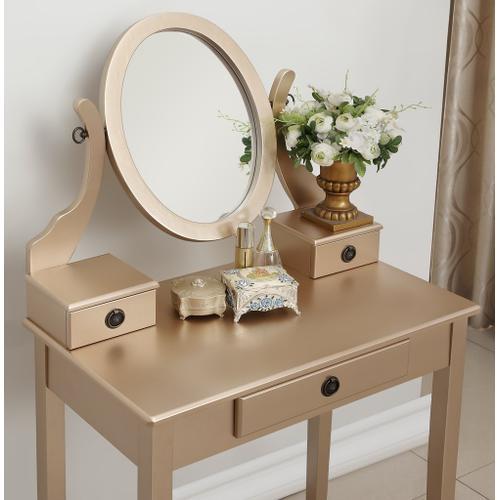 Round Hill Furniture - Moniys Wood Moniya Makeup Vanity Table and Stool Set, Gold