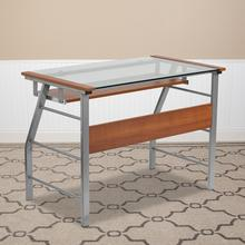 Product Image - Glass Computer Desk with Pull-Out Keyboard Tray and Bowed Front Frame