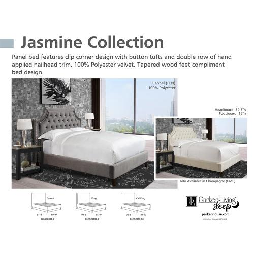 Jasmine Flannel (Grey) Upholstered Bed Collection