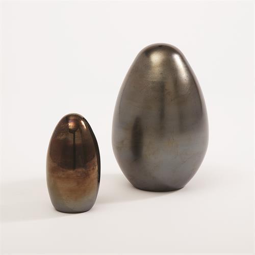 Glass Egg-Black Metallic-Lg