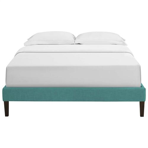 Tessie Queen Fabric Bed Frame with Squared Tapered Legs in Teal