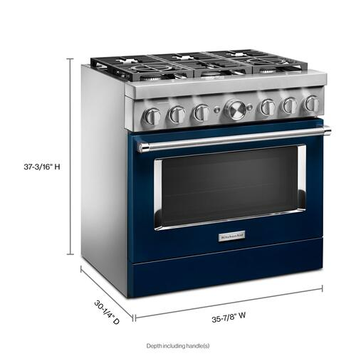 Product Image - KitchenAid® 36'' Smart Commercial-Style Dual Fuel Range with 6 Burners - Ink Blue