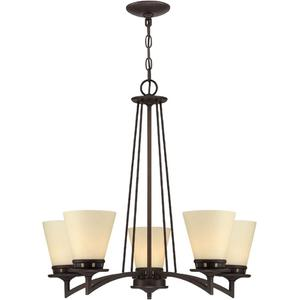 5-lite Ceiling Lamp, Aged Bronze/glass Shade, E27 A 60wx5