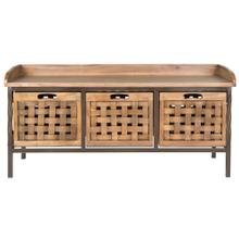 Isaac 3 Drawer Wooden Storage Bench - Antique Pewter / Oak