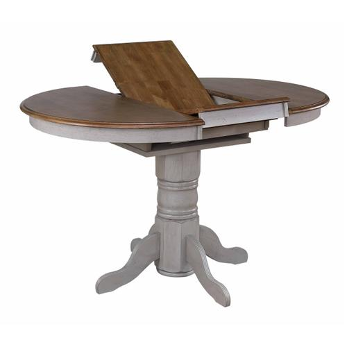 Round or Oval Extendable Pub Table Set - Distressed Gray & Brown (5 Piece)