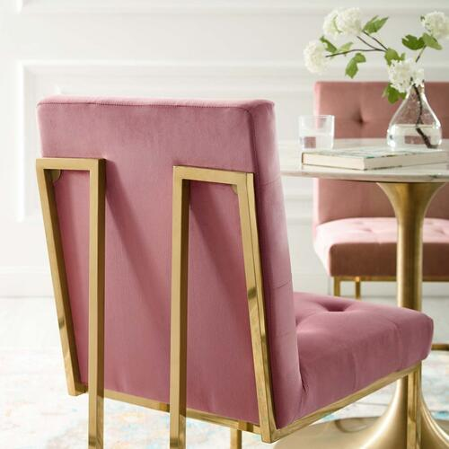 Privy Gold Stainless Steel Performance Velvet Dining Chair in Gold Dusty Rose
