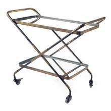 Charlize Gold Metal Frame Two-Tier w/mirrored shelves Bar Cart