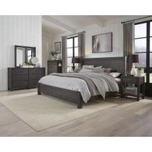 Queen Platform Bed Bedroom Set - Headboard, Storage Footboard, Rails/Decking, Tall Chest, Mirror