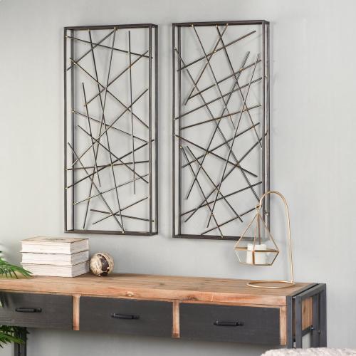 Contemporary Set of 2 Metal Wall Sculptures
