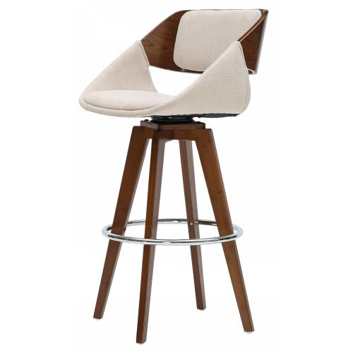Product Image - Cyprus KD Fabric Bamboo Bar Stool, Santorini Sand/Walnut