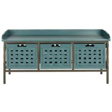 See Details - Isaac 3 Drawer Wooden Storage Bench - Teal