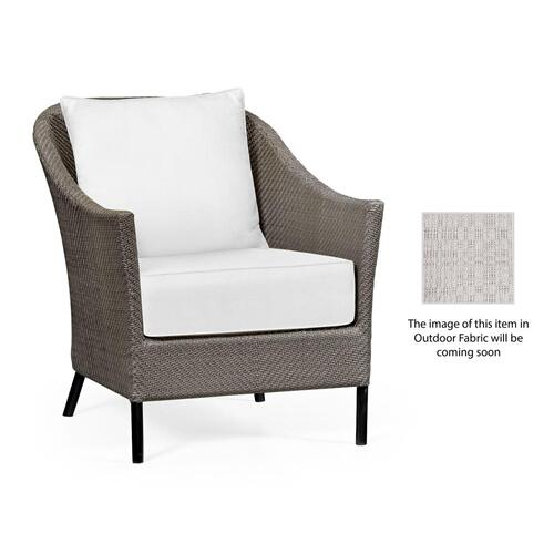 Occasional Armchair with Dark Grey Rattan, Upholstered in Standard Outdoor Fabric